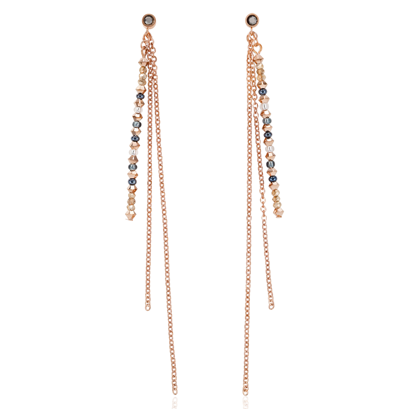 Earrings fine waterfall rose gold-grey