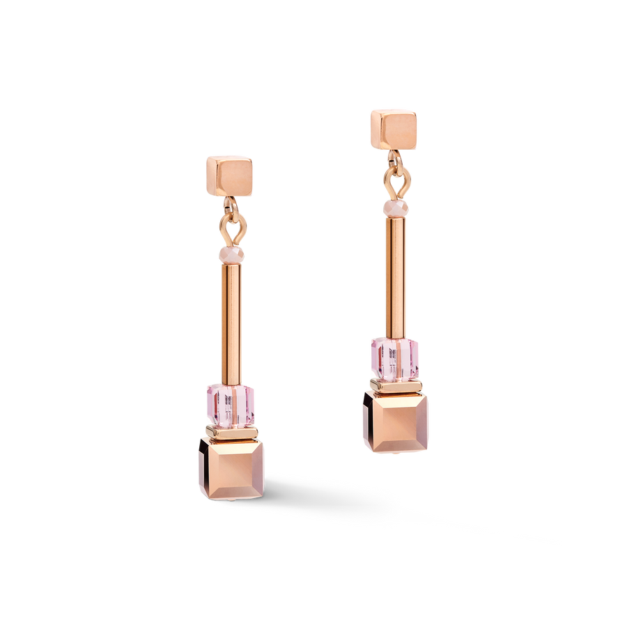 Earrings GeoCUBE® frontline rose gold-lilac