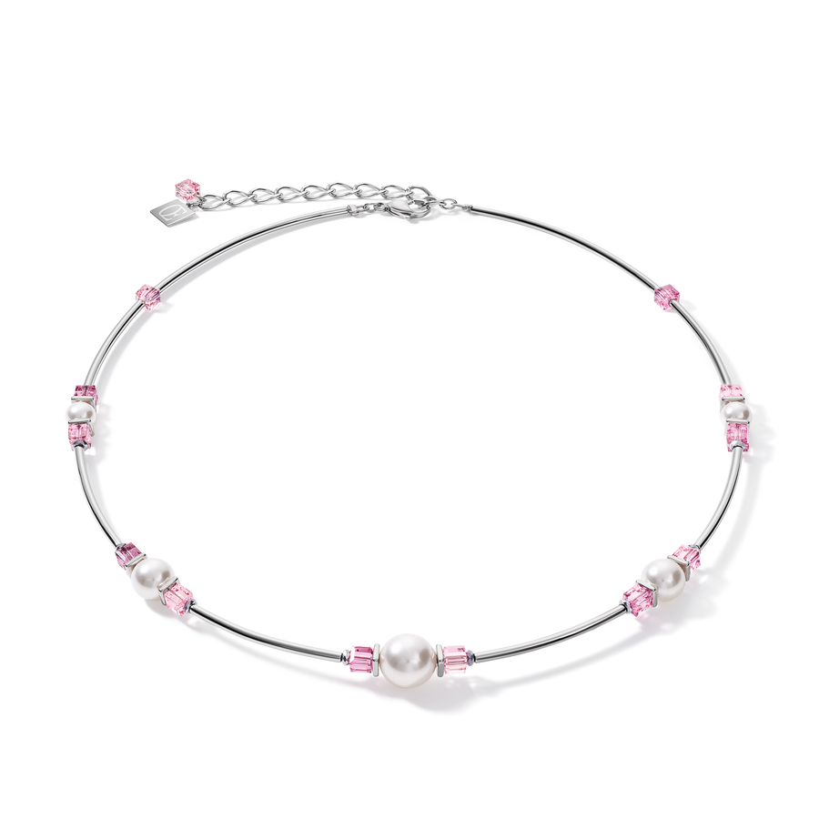 Necklace Crystal Pearls, Swarovski® Crystals & stainless steel silver-rose