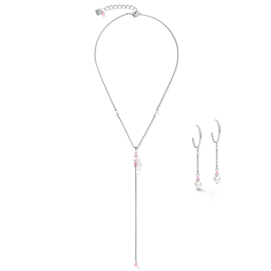 Earrings Creole Ypsilon Chain Crystal Pearl, Swarovski® Crystals & stainless steel silver-rose