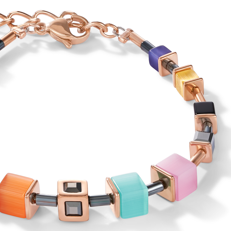 Bracelet GeoCUBE® Cube stainless steel rose gold & crystal multicolour couture