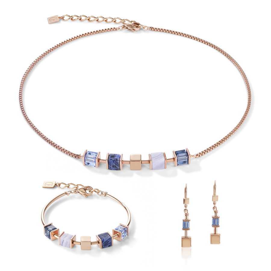 Necklace GeoCUBE® & chain blue