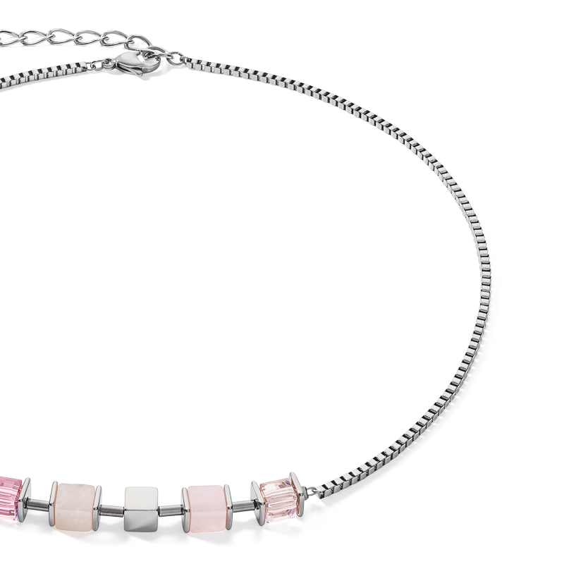 Necklace GeoCUBE® & chain silver light rose