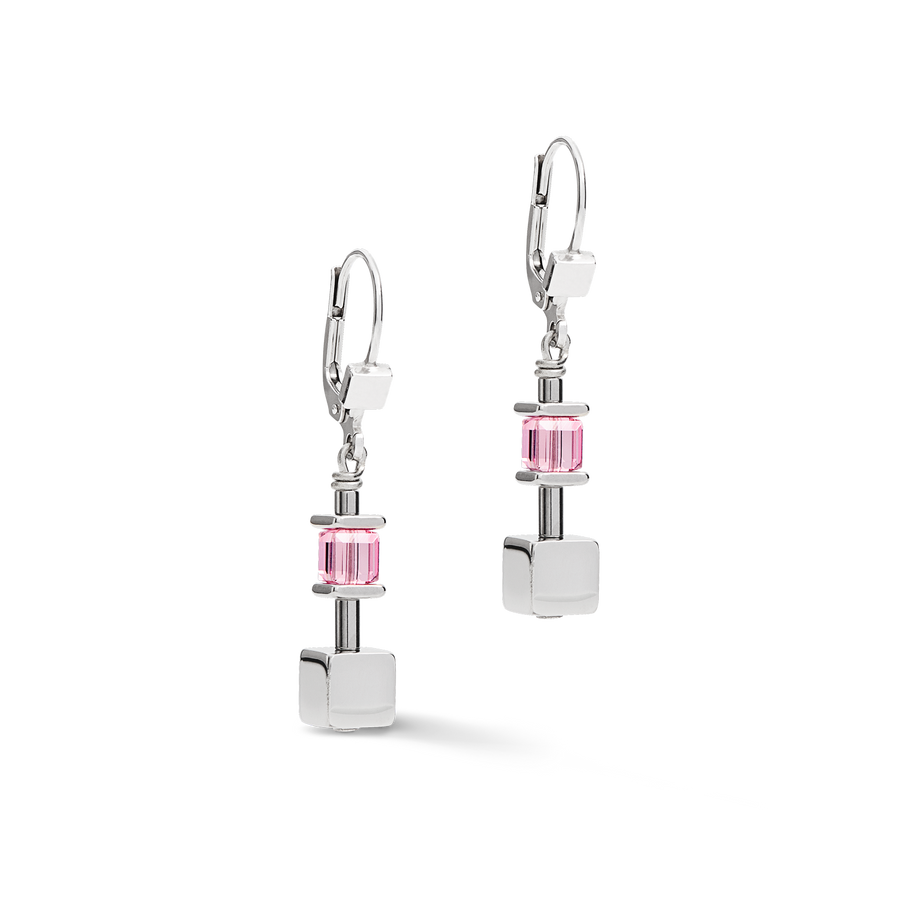 Earrings GeoCUBE® & chain silver light rose