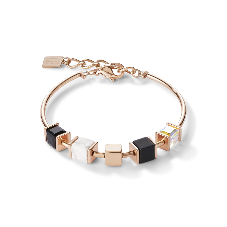 Bracelet GeoCUBE® & chain black-white