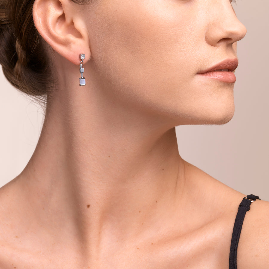 Earrings Y Chain short chalcedony & stainless steel silver light blue