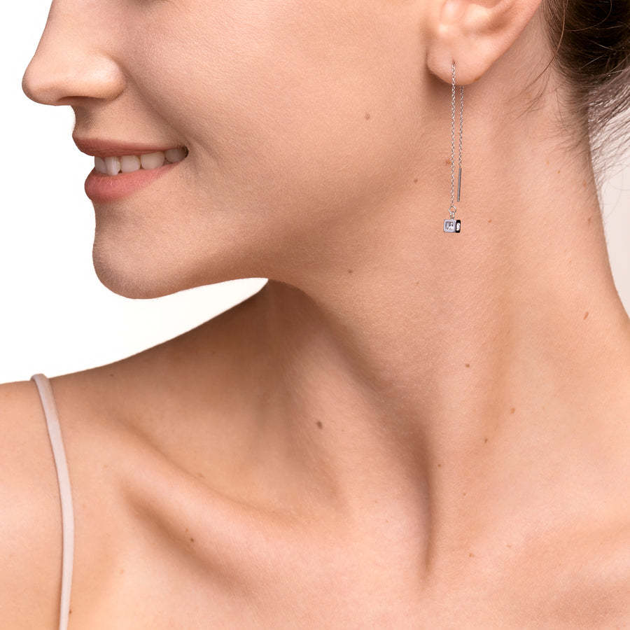 Earrings Y long Minimalist Chain stainless steel silver crystal