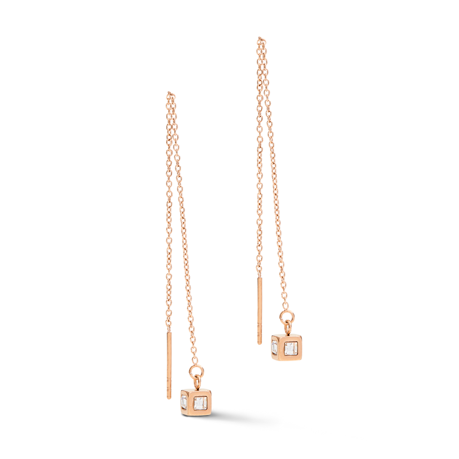 Earrings Y long Minimalist Chain stainless steel rose gold crystal