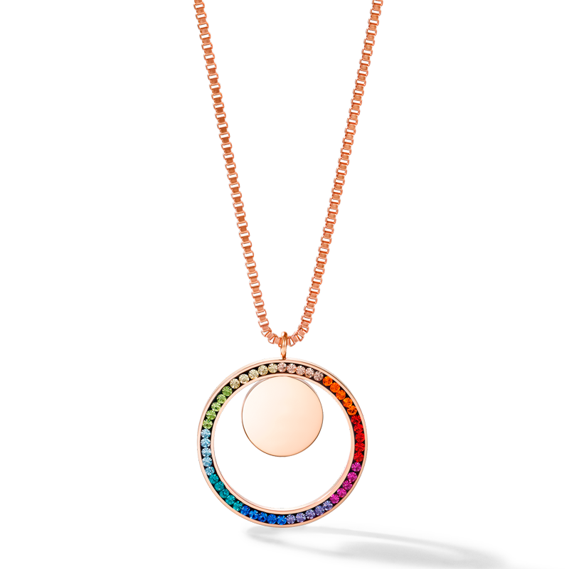 Necklace Ring Crystals pavé & coin stainless steel rose gold & multicolour