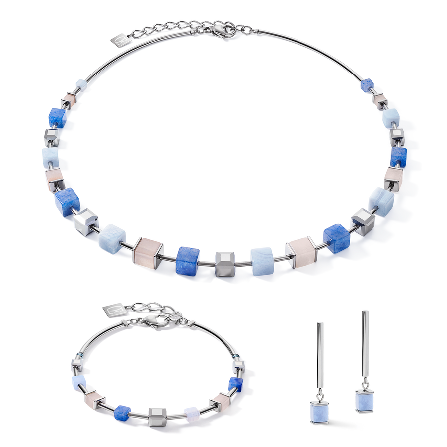 Bracelet GeoCUBE® big Gemstones, Swarovski® Crystals & stainless steel rose gold blue-beige