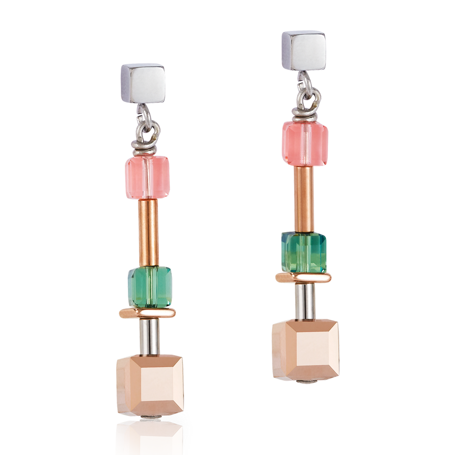 Earrings GeoCUBE® 125 years Swarovski® Special multicolour & stainless steel rose gold