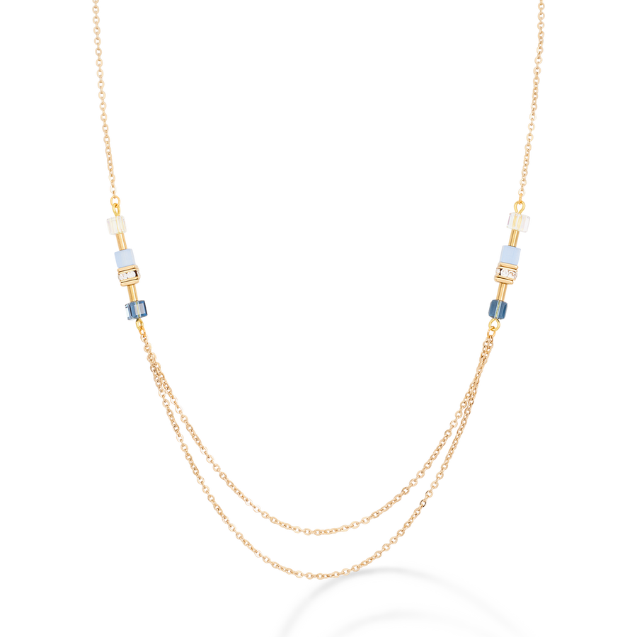 Necklace GeoCUBE® double chain long stainless steel gold-blue