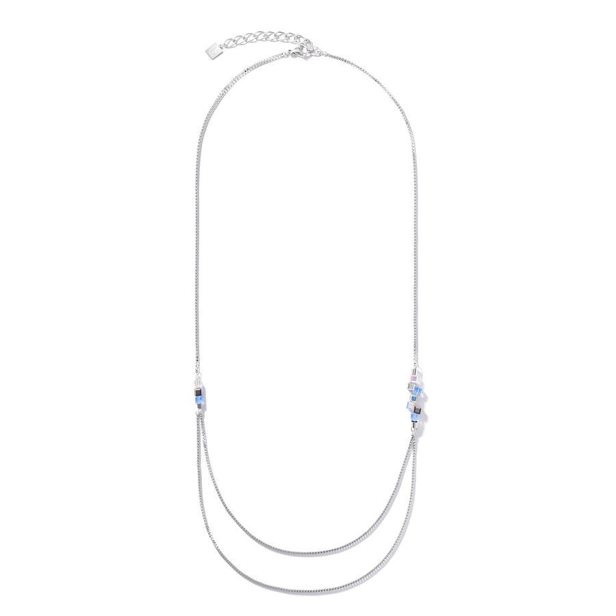 Necklace GeoCUBE® cluster double chain long stainless steel silver-light blue