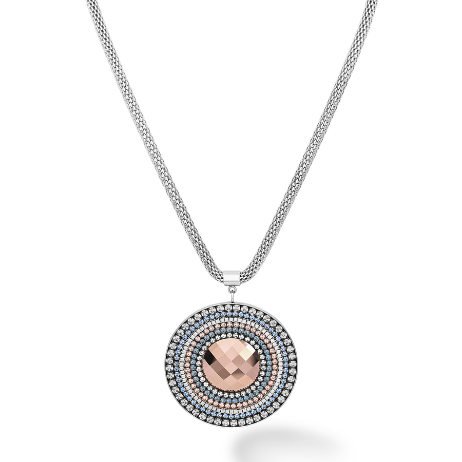 Necklace Amulet Swarovski® Crystals & stainless steel mesh silver-light blue