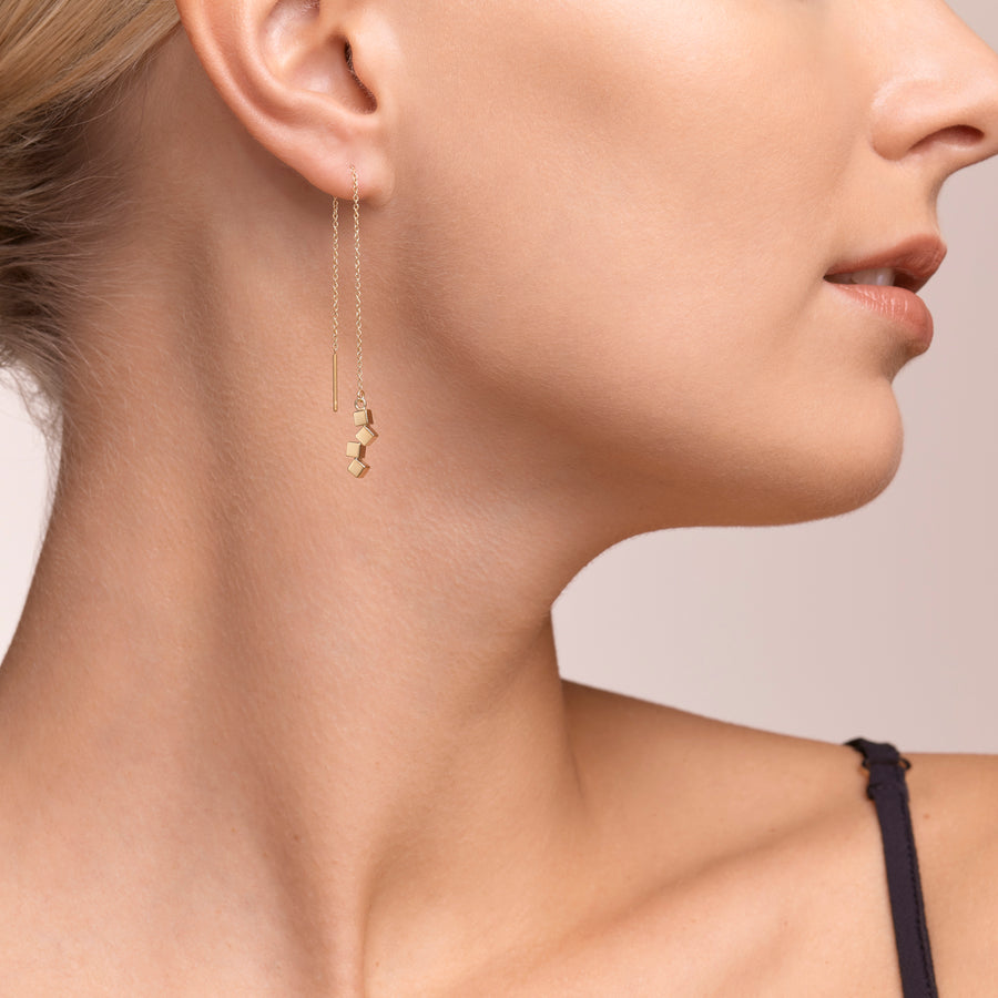 Earrings Dancing GeoCUBE® small stainless steel gold