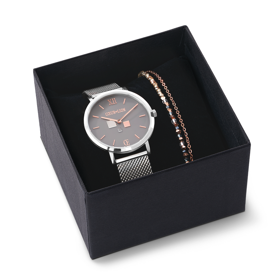 Set Watch Cool Grey ME & Bracelet Fine Waterfall Roségold-Grey