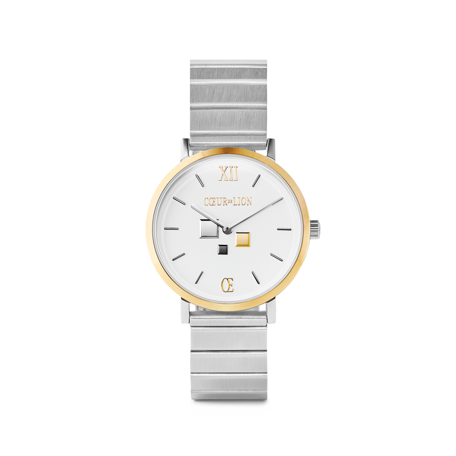 Watch Round Brilliant White Bicolor Stainless Steel Silver