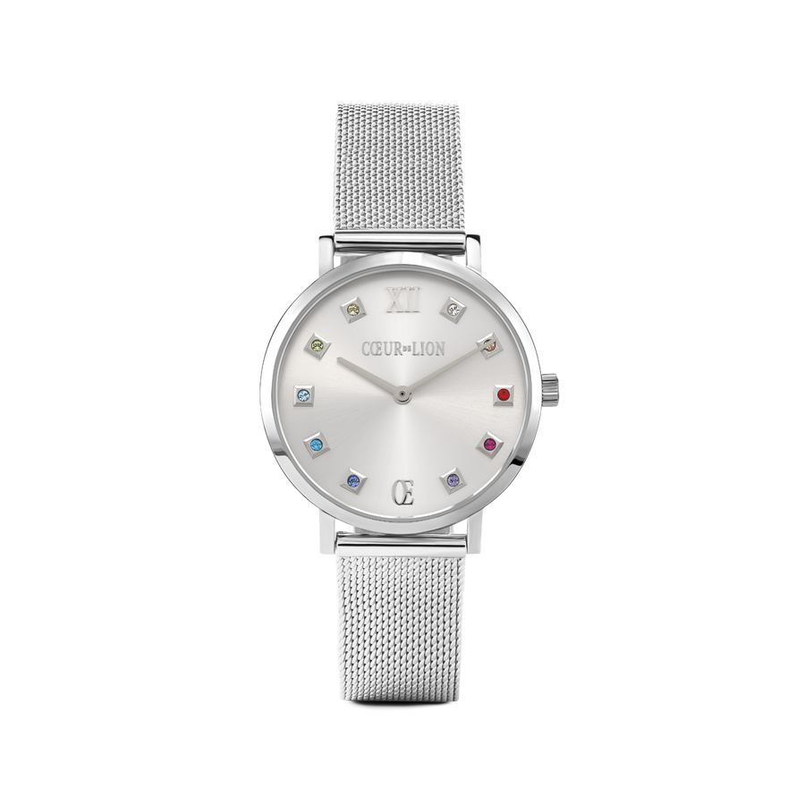Watch Round Silver Sunray Milanese Stainless Steel