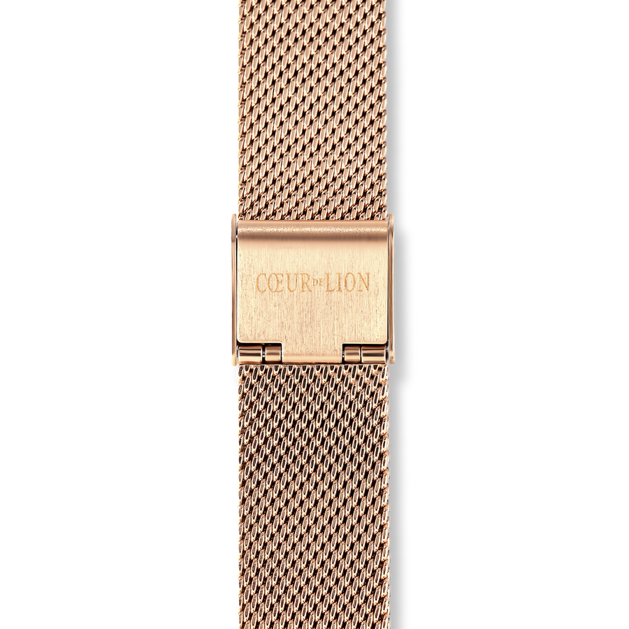 Watch Round Mocha Matt Milanese Stainless Steel Rose Gold
