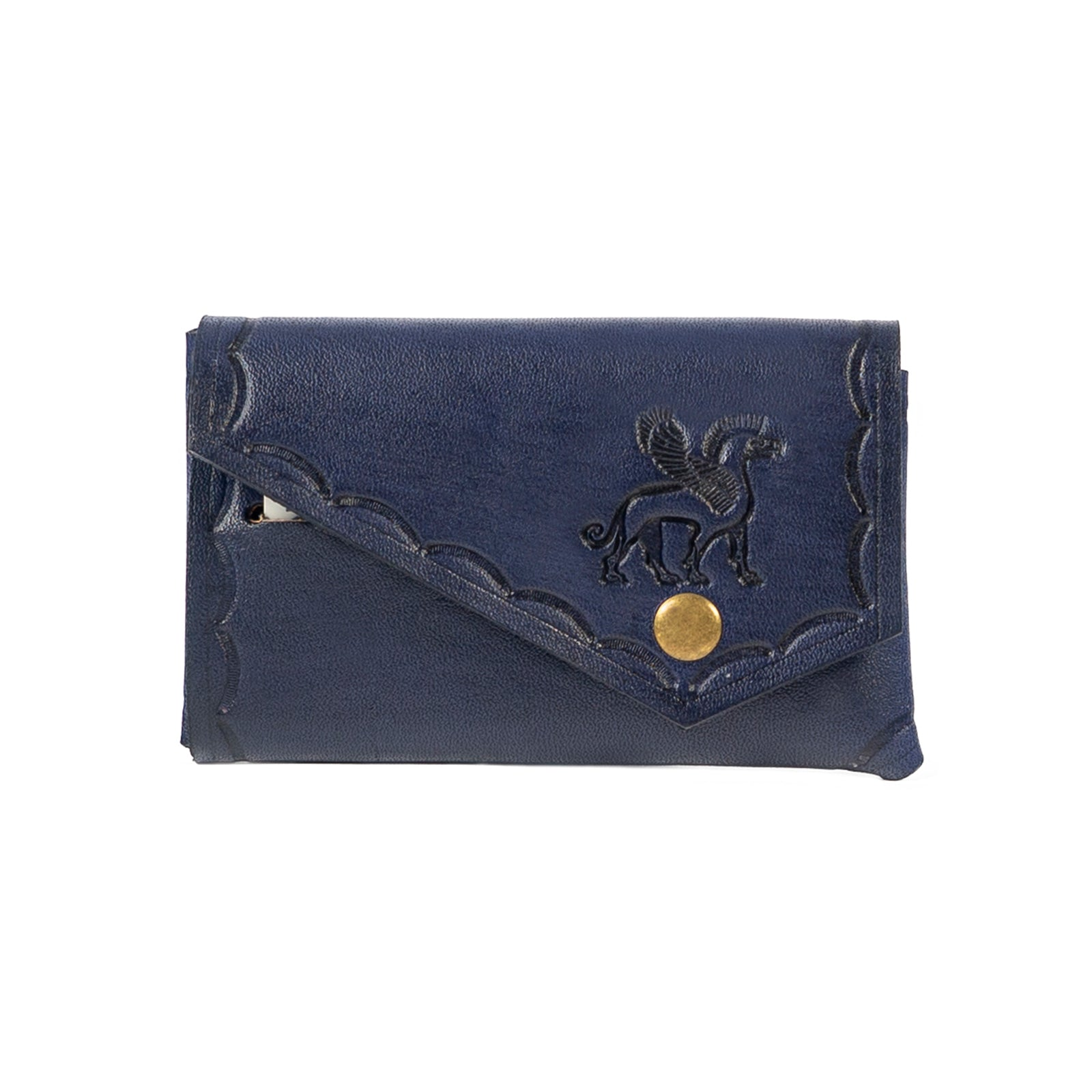 Derifix Lidya Navy Blue Handmade Leather Cardholder