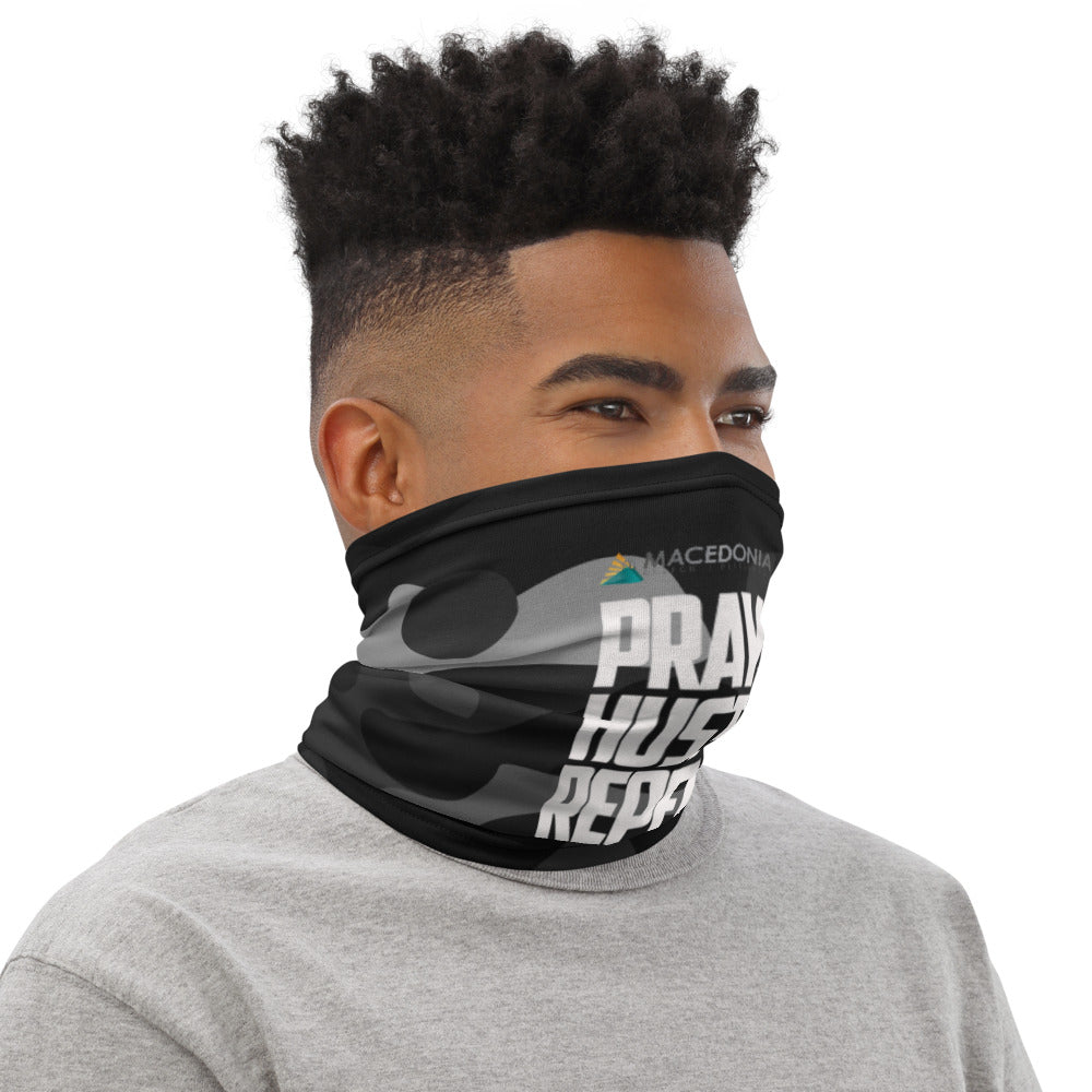 PRAY HUSTLE REPEAT Black Camo Neck Gaiter