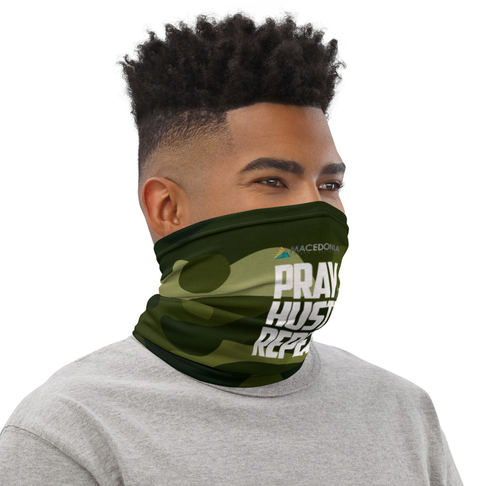 PRAY HUSTLE REPEAT Green Camo Neck Gaiter