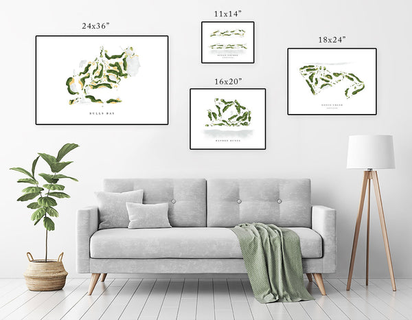 Poster Size | Golf Course Watercolor Style Print, Course Map Layout