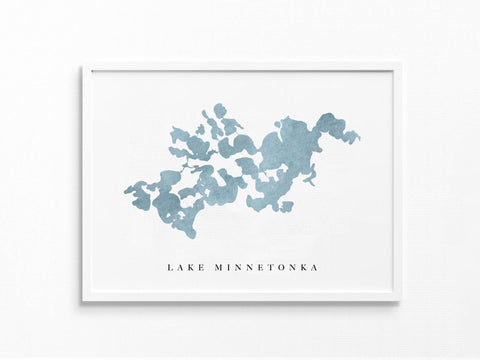 Lake Minnetonka | Minneapolis, MN | Lake Map, Lake Decor Gift, Lake Layout | Watercolor-style Print