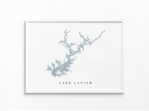 Lake Lanier | Georgia | Lake Map, Lake Decor Gift, Lake Layout | Watercolor-style Print