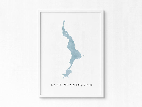 Lake Winnisquam | Meredith, NH | Lake Map, Lake Decor Gift, Lake Layout | Watercolor-style Print