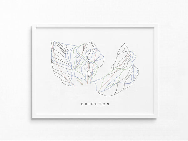 Brighton Ski Resort | Utah | Trail Map, Ski Decor Gift, Ski Slopes, Mountain Layout | Minimalist Print