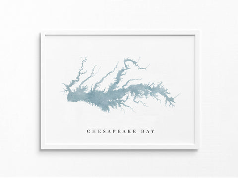 Chesapeake Bay | Lake Map, Lake Decor Gift, Lake Layout | Watercolor-style Print