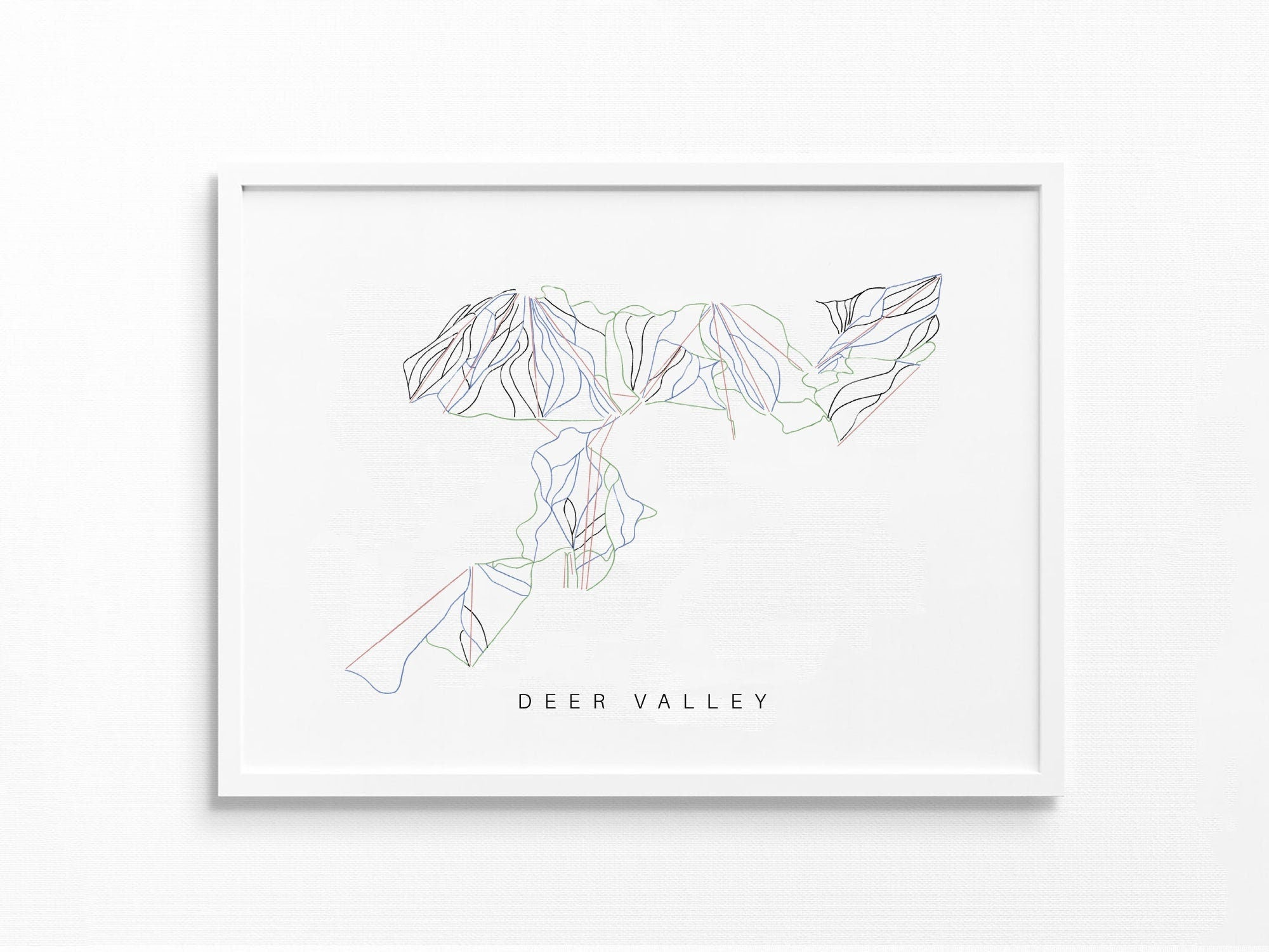 Deer Valley | Park City, UT | Trail Map, Ski Decor Gift, Ski Slopes, Mountain Layout | Minimalist Print UNFRAMED