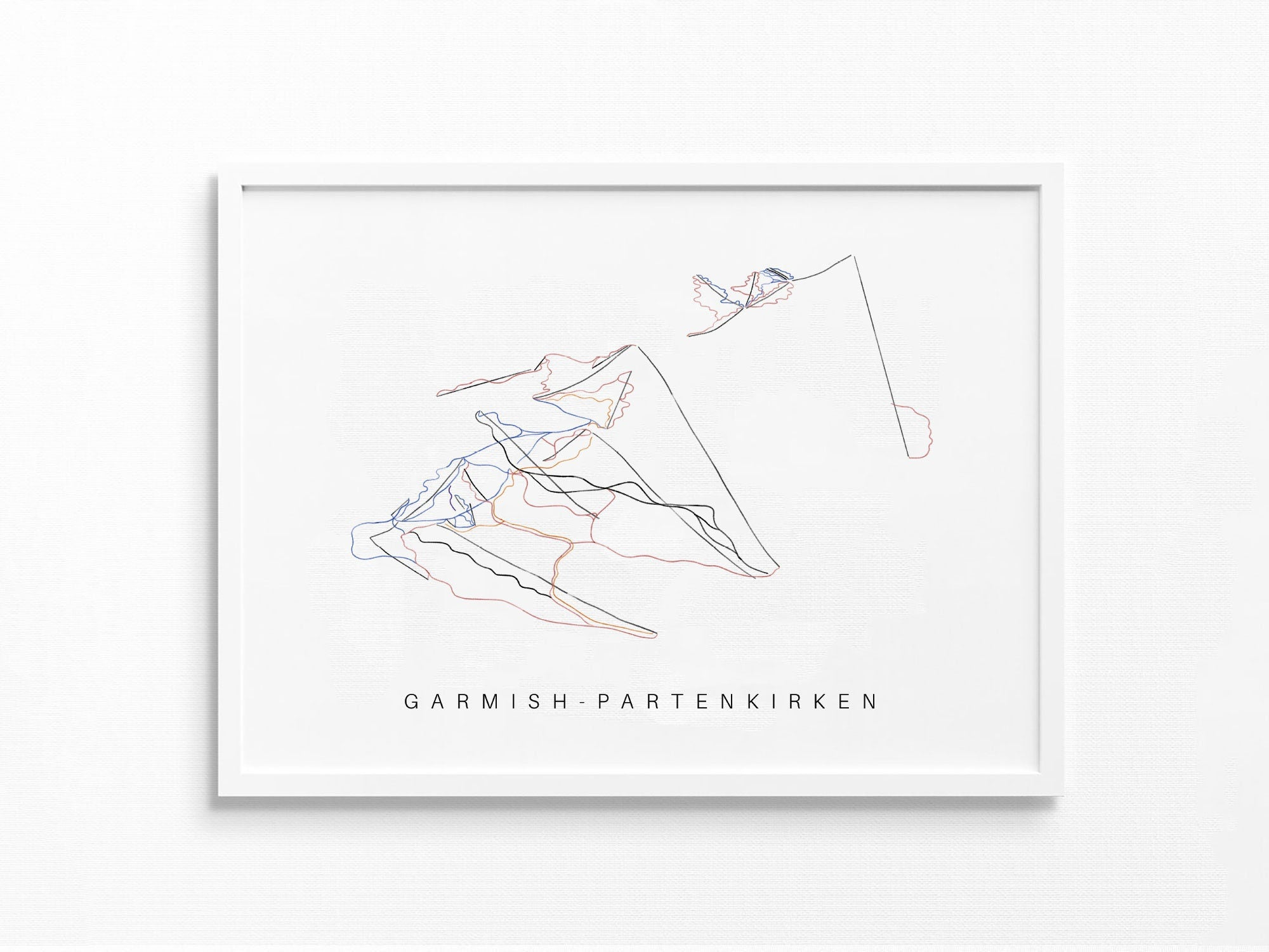 Garmisch-Partenkirchen | Germany | Trail Map, Ski Decor Gift, Ski Slopes, Mountain Layout | Minimalist Print UNFRAMED