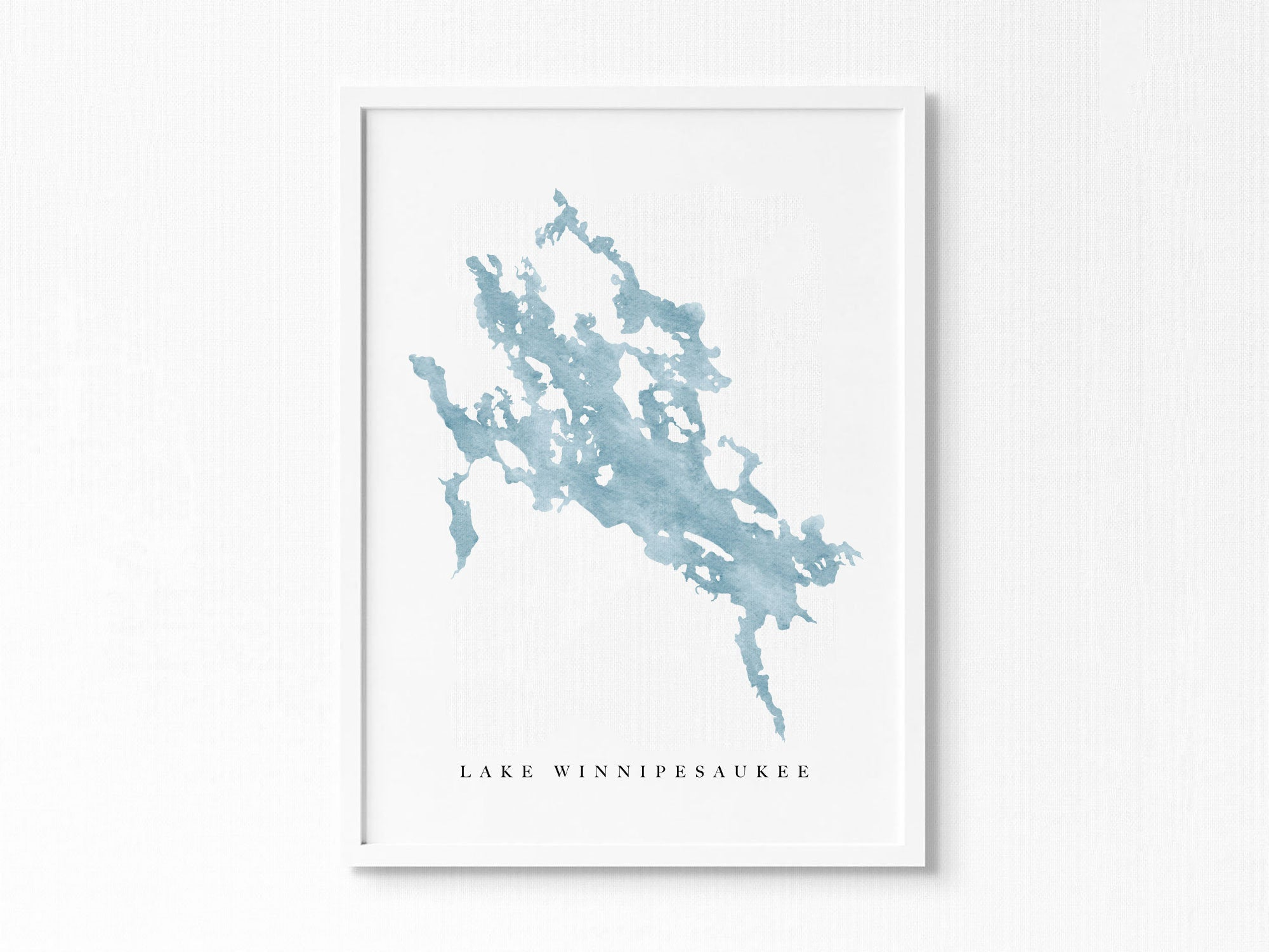 Lake Winnipesaukee | New Hampshire | Lake Map, Lake Decor Gift, Lake Layout | Watercolor-style Print UNFRAMED
