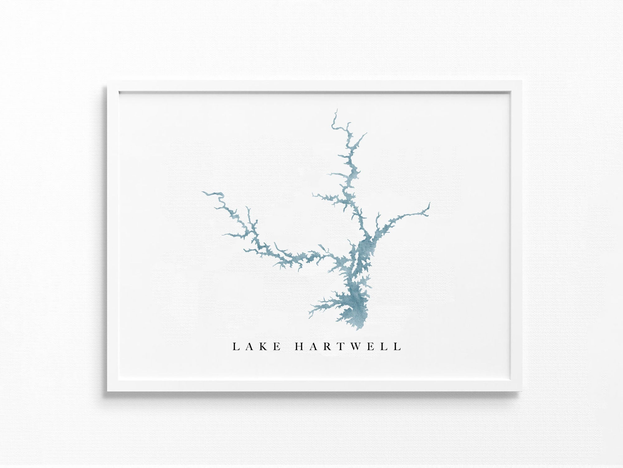 Lake Hartwell | Georgia and South Carolina | Lake Map, Lake Decor Gift, Lake Layout | Watercolor-style Print UNFRAMED