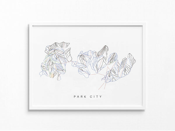 Park City | Utah | Trail Map, Ski Decor Gift, Ski Slopes, Mountain Layout | Minimalist Print UNFRAMED