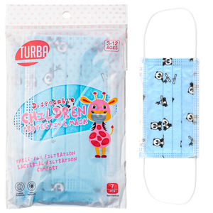 Turba 3-Ply Designed Pediatric Mask - Panda (Pack of 7)