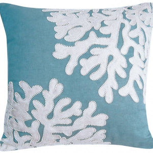 Linen White Beaded Coral Indoor Cotton Pillow
