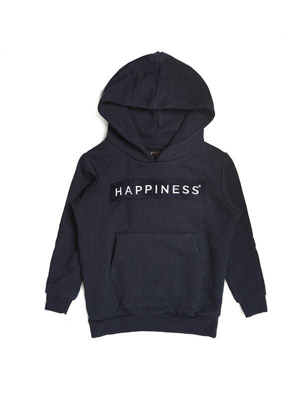 Felpa Cappuccio Kids Con Patch Happiness Blu Scuro - Happiness Shop Online