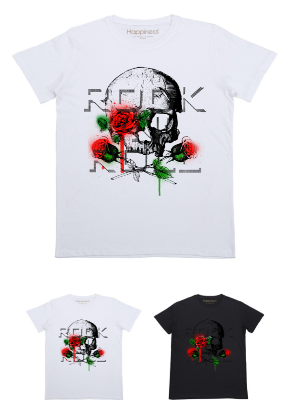 T-shirt Uomo - Skull and Roses - Happiness Shop Online