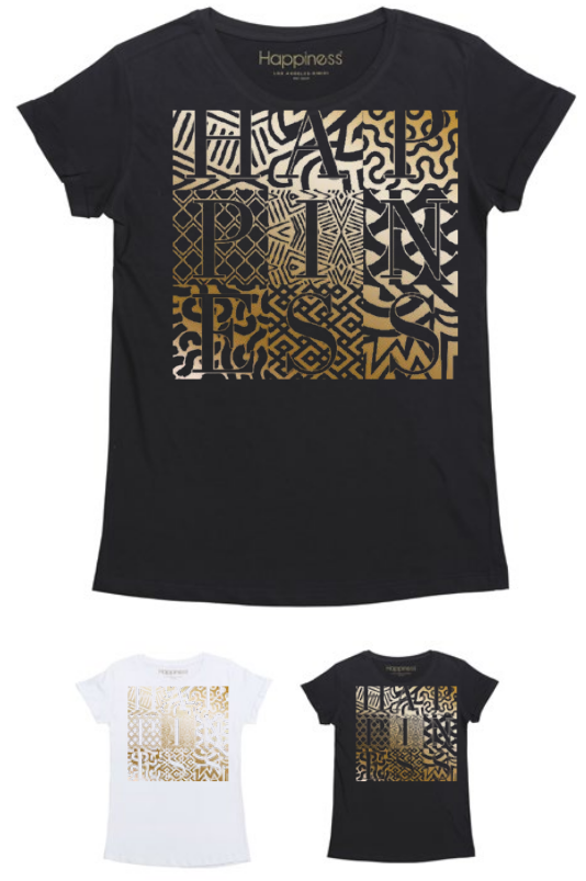 T-Shirt Donna - Happiness Gold Lamina - Happiness Shop Online