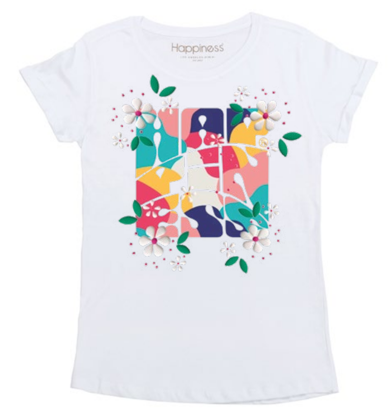 T-Shirt Donna - Happiness Flowers - Happiness Shop Online