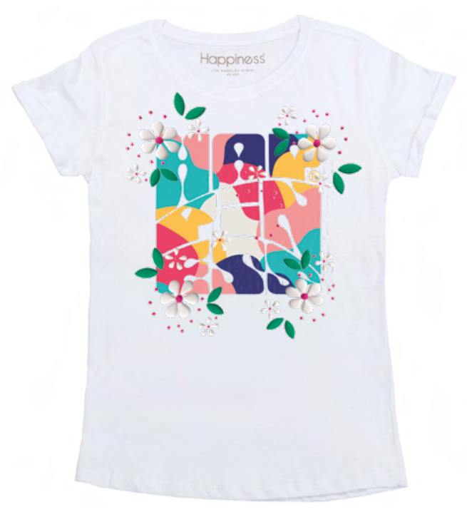 T-Shirt Bimba - Happiness Flowers - Happiness Shop Online