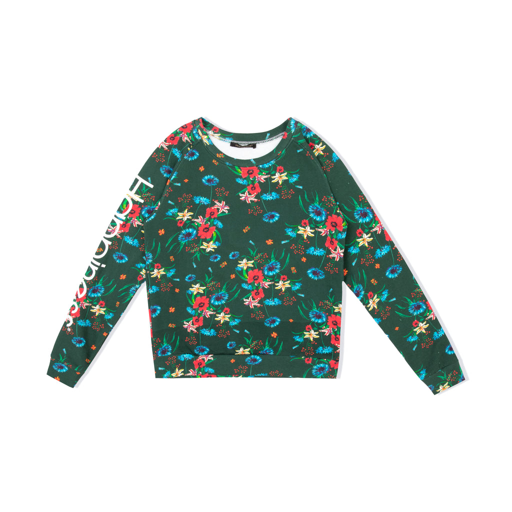 Crew Donna - Happiness Logo Green Floreal - Happiness Shop Online