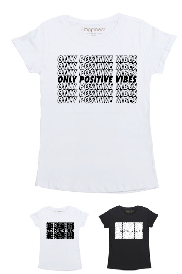 T-Shirt Donna - Only Positive Vibes - Happiness Shop Online