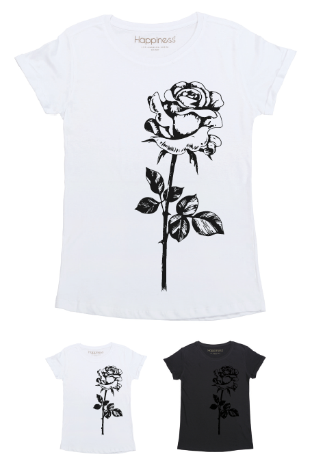 T-Shirt Donna - Rosa Nera - Happiness Shop Online