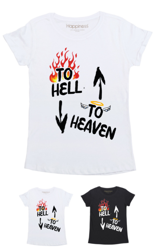 T-Shirt Donna - To Hell To Heaven - Glitter - Happiness Shop Online