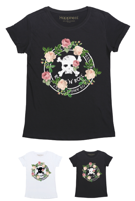 T-Shirt Donna - Rnr Skull Rose - Happiness Shop Online