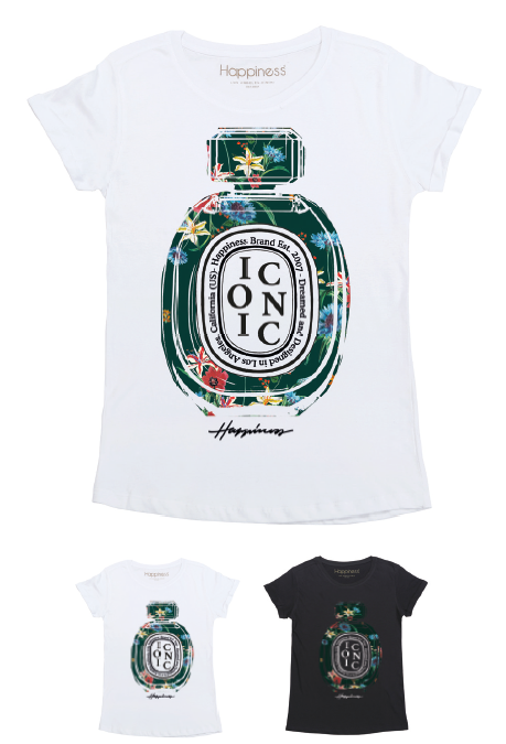 T-Shirt Donna - Green Iconic Flower Perfume - Happiness Shop Online